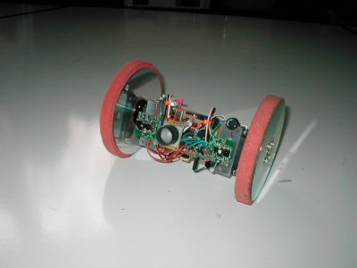 Rollie, a two wheeled robot with CD's for wheels