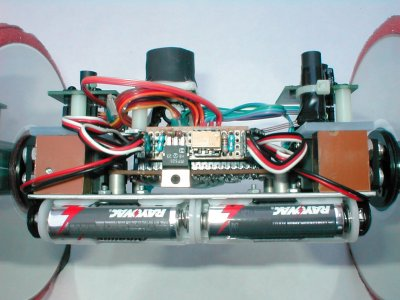 Rollie's top view showing power disconnect circuitry.